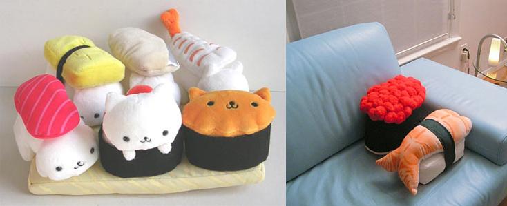 Peluches et coussins version sushi